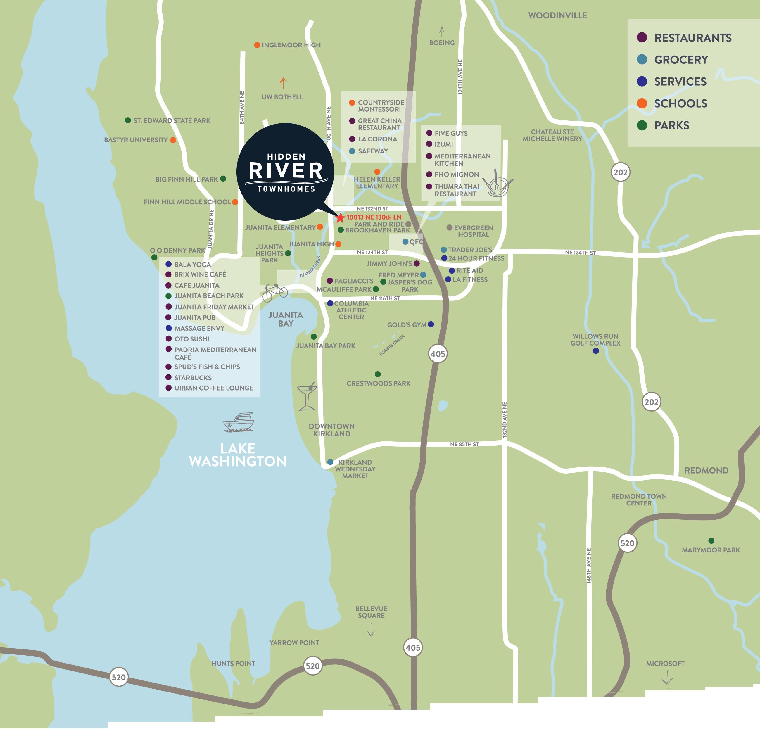 Location Map - Hidden River Townhomes, Apartments near Juanita Bay, Kirkland, Washington 98034
